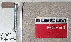Label on Busicom HL-21