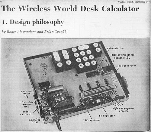 Article on Advance Electronics/Wireless World calculator