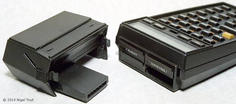 HP-41CX with memory, program, and magnetic strip modules.