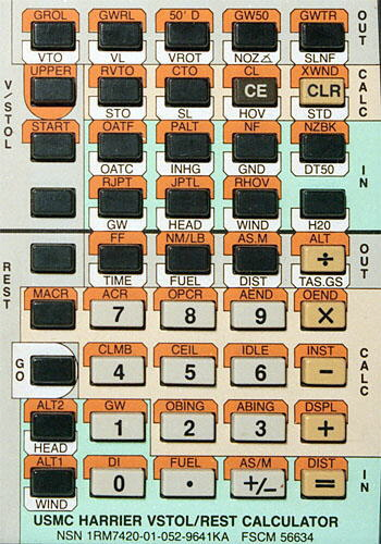 USMC Harrier calculator keyboard