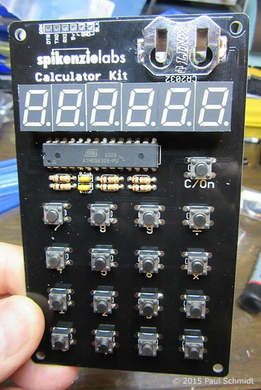 Calculator kit PCB assembled